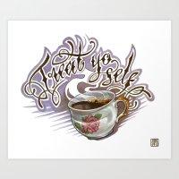 treat yo self Art Prints featuring Treat Yo Self by Bokkei