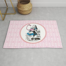 Alice in Wonderland | Alice Playing Croquet with a Flamingo and Hedgehogs | Pink Damask Pattern | Rug
