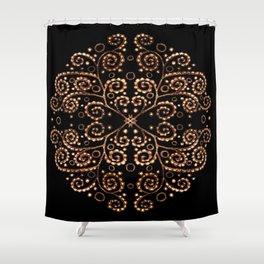 Mandala henna black Shower Curtain
