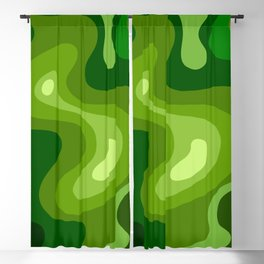 Multi Color Green Liquid Abstract Design Blackout Curtain