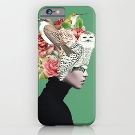 Lady with Birds(portrait) 2 iPhone Case