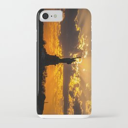 Statue of Liberty sunset in New York Harbor iPhone Case