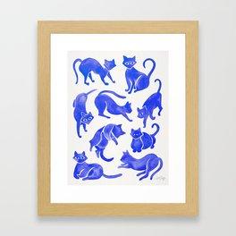 Cat Positions – Blue Palette Framed Art Print
