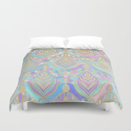 Jade & Blue Enamel Art Deco Pattern Duvet Cover
