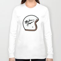 moto Long Sleeve T-shirts featuring Make Fun Moto Helmet by Mick Bailey