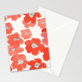 Camellia Flowers in Red Stationery Cards