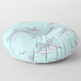 Flying Birds on Teal Background Floor Pillow