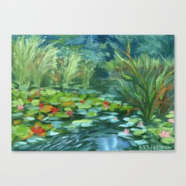 Pink Water Lilies At Lake Tekapo Canvas Print