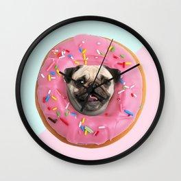 Pug Strawberry Donut Wall Clock