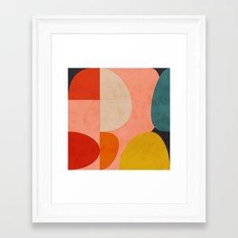 geometry shape mid century organic blush curry teal Framed Art Print