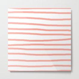 Simply Drawn Stripes Salmon Pink on White Metal Print