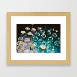 Ball Jars in Blue Framed Art Print