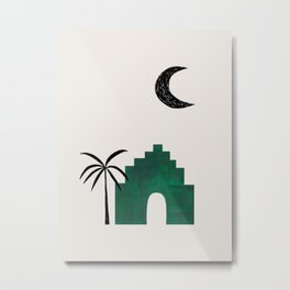Emerald Green Minimalist Mid Century Ancient Minimal Ruin Architecture Moon Lit Palm Trees Ejaaz Haniff Metal Print