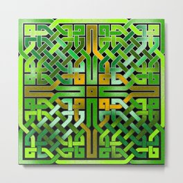 Green Celtic  Knot Square Metal Print