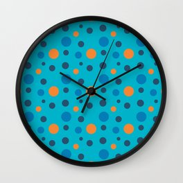 Blue and Orange dots on Blue Wall Clock