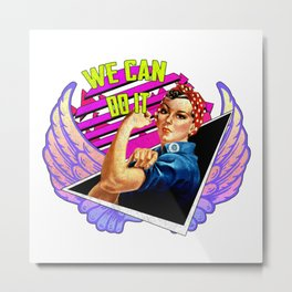 'WE CAN DO IT' - Feminist Vaporwave Quote Metal Print