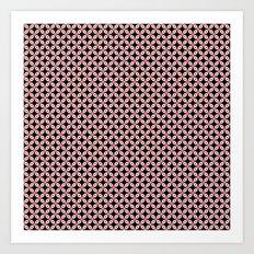 Pink Black Star Pattern Art Print