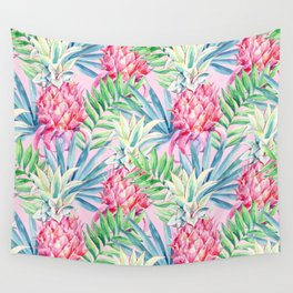Pineapple & watercolor leaves Wall Tapestry