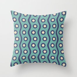 Mid Century Modern Rising Bubbles Pattern Turquoise and Blue Throw Pillow