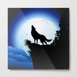 Wolf Howling at Blue Moon Metal Print