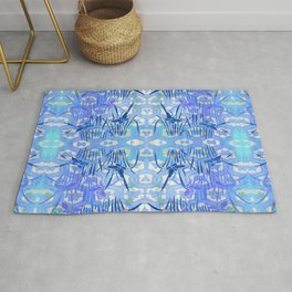Blue Chinoiserie Butterfly On the Pond Rug