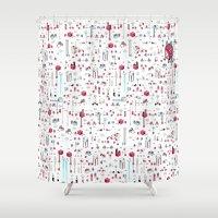 8bit Shower Curtains featuring 8bit Love by Elisa Sassi
