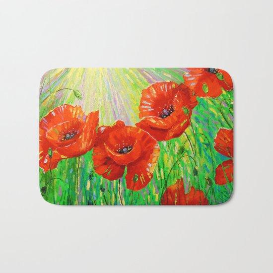 Poppies in sunlight Bath Mat