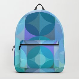 Layered Circles Geometric Pattern - Blue Backpack