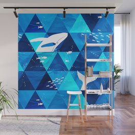 Blue Whale Jumping Wall Mural