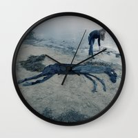 sea horse Wall Clocks featuring Sea horse by Kestere