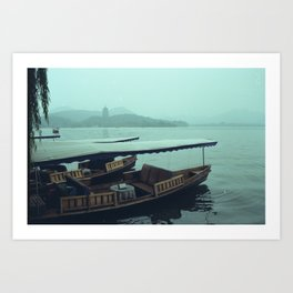 Down by the lake Art Print