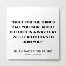 3     191115   Ruth Bader Ginsburg Quotes Metal Print