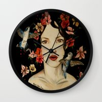 courage Wall Clocks featuring Courage by Maryssa Anne