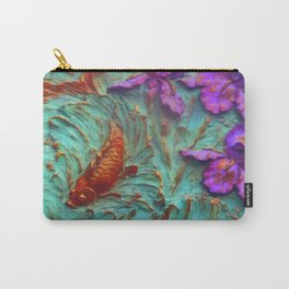 DIMENSIONAL PURPLE IRIS FLOWERS & GOLDEN KOI FISH Carry-All Pouch