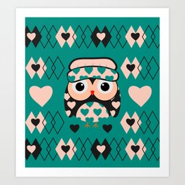Owl and heart pattern Art Print