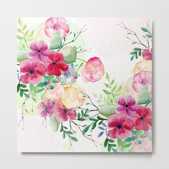 Vintage Flowers - Watercolor Floral Painting Metal Print