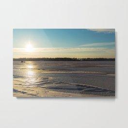 Sunset Over Freezing Lake 3 Metal Print