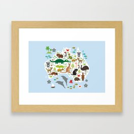 map of Australia. Echidna Platypus Emu Tasmanian devil Cockatoo Wombat crocodile kangaroo dingo Framed Art Print