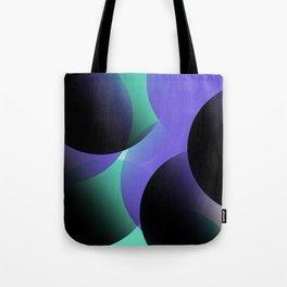 Blue Black Turquois Circles Tote Bag