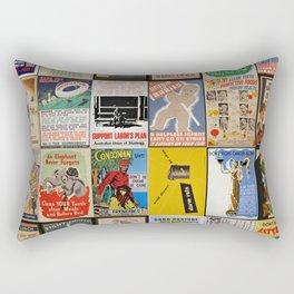 Full Vintage Poster Collage Rectangular Pillow