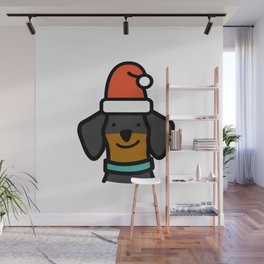 Christmas Dachshund - Black & Tan Wall Mural