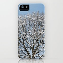 Tree covered in snow iPhone Case