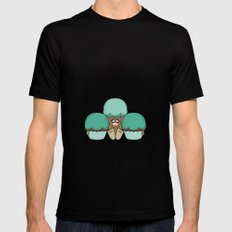 Cute Monster With Cyan And Orange Frosted Cupcakes MEDIUM Mens Fitted Tee Black