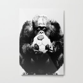 Soccer Chimp Metal Print