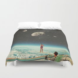 Summer with a Chance of Asteroids Duvet Cover