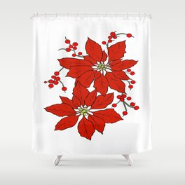Red Poinsettias Shower Curtain