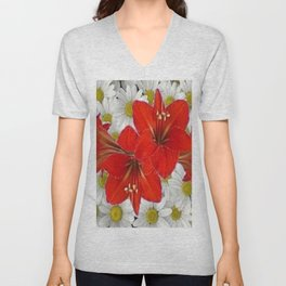 RED AMARYLLIS WHITE DAISIES FLORAL ART Unisex V-Neck