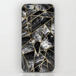 Black White Agate Black Gold Geometric Triangles iPhone Skin