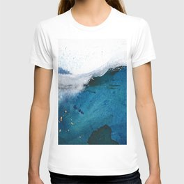 In the Surf: a vibrant minimal abstract painting in blues and gold T-shirt