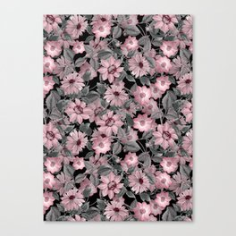 Nostalgic Floral Pattern On Black Canvas Print